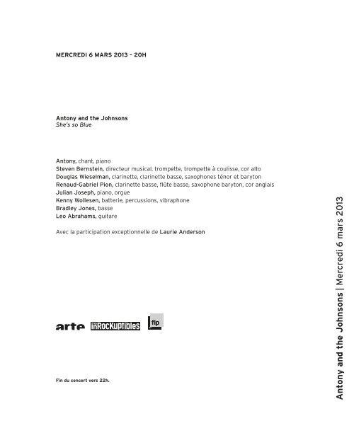 An ton y and the Johnsons   Mercredi 6 mars 2 013 - Salle Pleyel