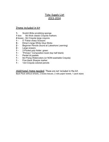 Tyke Supply List 2013-2014 Items included in kit