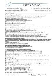 Anmeldung für das Schuljahr - Berufsbildende Schulen Varel