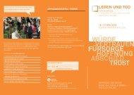Besucherflyer der Messe Leben und Tod 2013
