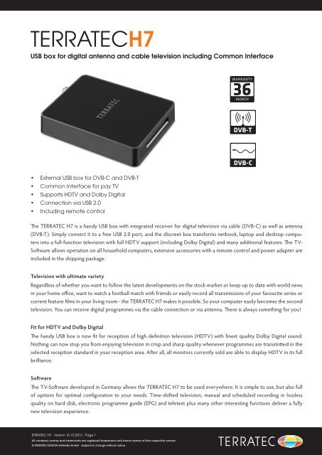 USB box for digital antenna and cable television     - Terratec
