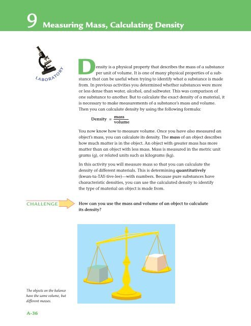 9 Measuring Mass, Calculating Density - EZWebSite