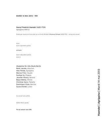 Haendel | A grippina | Mardi 14 mai 2 013 - Salle Pleyel