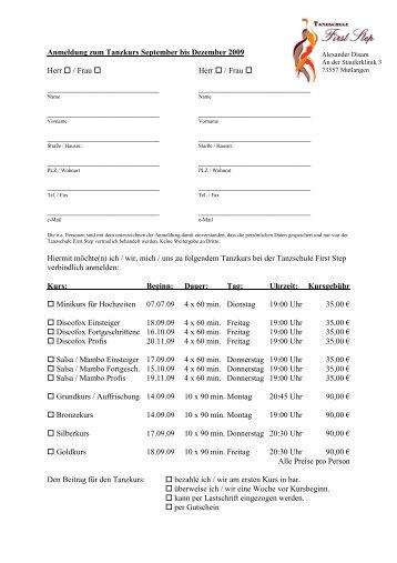 Anmeldeformular Erwachsene 03 - Tanzschule First Step