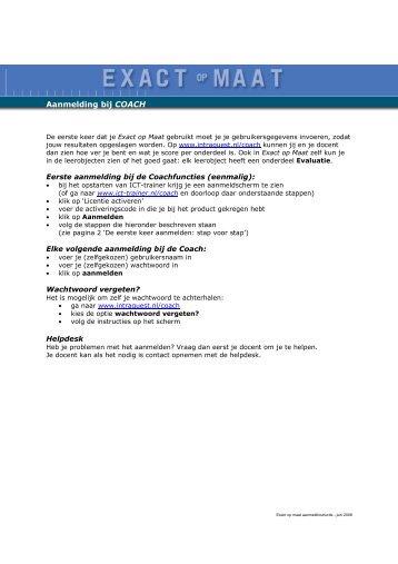 Aanmeldprocedure - Exact op maat