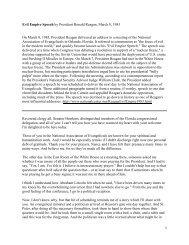 Evil Empire Speech by President Ronald Reagan, March ... - Earthfolk