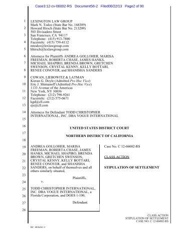 Stipulation of Settlement - Heffler Claims Administration