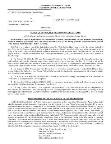 Settlement Notice & Proof of Claim Form - Heffler Claims Group