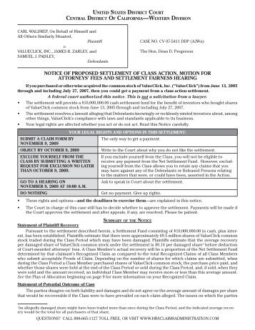 Notice & Claim Form Mailed August 10, 2009 - Heffler Claims ...