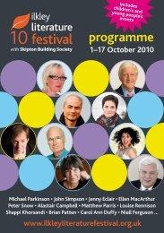 the Ilkley Literature Festival programme