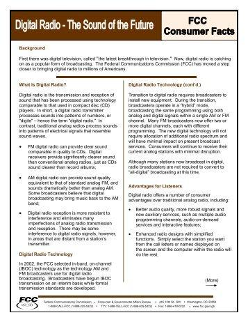 Digital Radio Technology (cont'd.) Transition to digital radio ... - FCC
