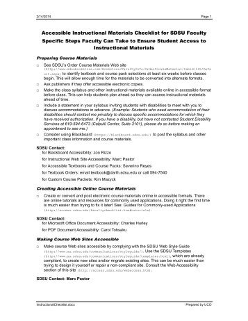 Accessibility checklist for online courses element for Disability access audit template