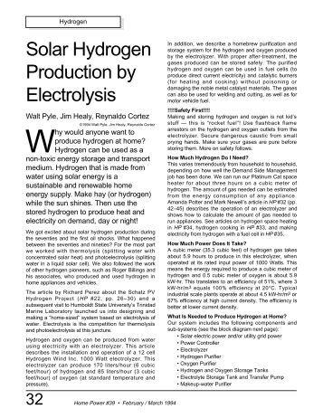 Solar Hydrogen Production by Electrolysis