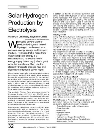 Solar Hydrogen Production by Electrolysis