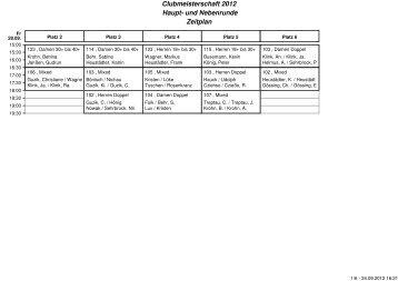 Clubmeisterschaft 2012 Haupt- und Nebenrunde Zeitplan
