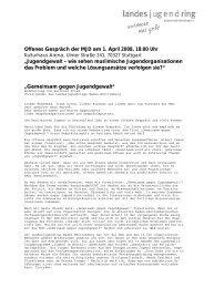 Offenes Gespräch der MJD am 1. April 2008, 18:00 Uhr ...