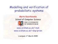 Modelling and verification of probabilistic systems - Quantitative ...