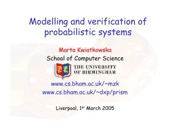 Modelling and verification of probabilistic systems - Quantitative ...