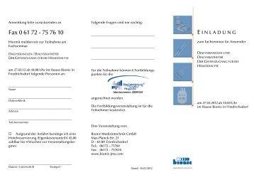 Einladung / Anmeldung zum Gefäßzugangsseminar im Frühjahr
