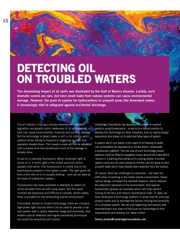 DETECTINg OIl ON TROuBlED WATERs - Cambridge Consultants