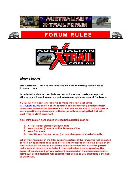 Forum Rules Australian Nissan X Trail Forum And Store