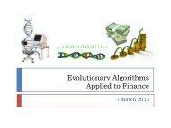 Evolutionary Algorithms Applied to Finance