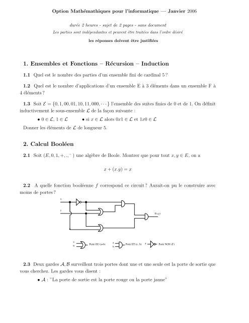 1 Ensembles Et Fonctions Recursion Induction 2 Calcul Booleen