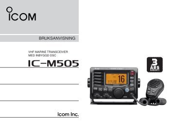 Bruksanvisning IC-M505 - VHF Group AS