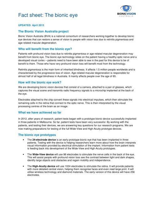 Fact sheet: the bionic eye (PDF, 134KB) - Bionic Vision