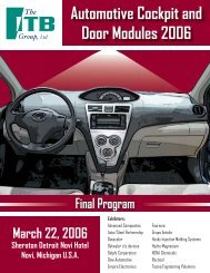 Automotive Cockpit and Door Modules 2006 AGENDA - The ITB Group