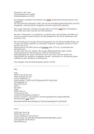 3.) Liste mit Einstelldaten verschiedener Provider - VHS-DH.de