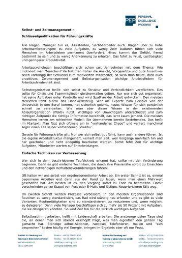 Selbst- und Zeitmanagement - Schlüsselqualifikation für ...