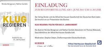 einladung - Alfred Herrhausen Gesellschaft
