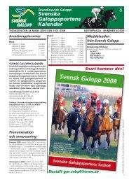 6 Svenska Galopp sportens Kalender - Øvrevoll Galoppbane