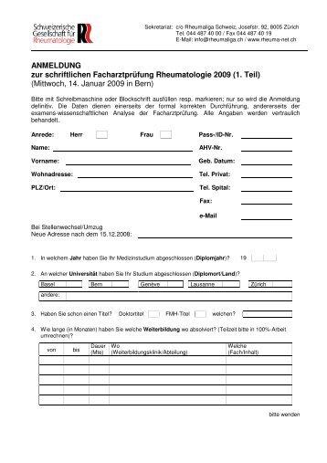ANMELDUNG zur schriftlichen Facharztprüfung Rheumatologie 2009