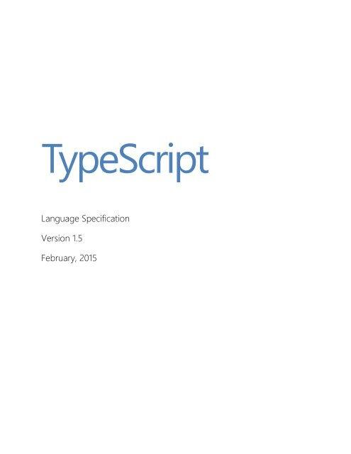 TypeScript Language Specification v1.5