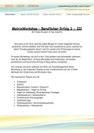MatrixWorkshop – Beruflicher Erfolg I - III - Spirituelle Lichtheilung