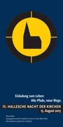 15. HALLESCHE NACHT DER KIRCHEN - Programm am 15. August 2015