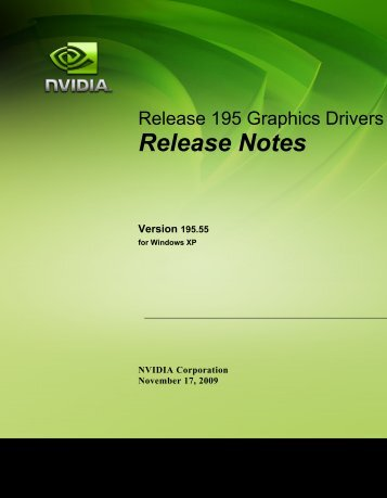 Release Notes for Windows XP - Nvidia's Download site!!
