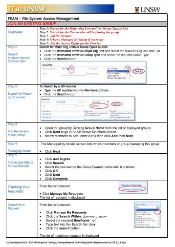 FASM Quick Reference Card - UNSW IT