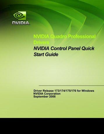 NVIDIA Quadro Professional Drivers NVIDIA Control Panel Quick ...