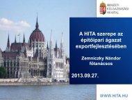 A Nemzeti Külgazdasági Hivatal szerepe az építőipari ágazat ...