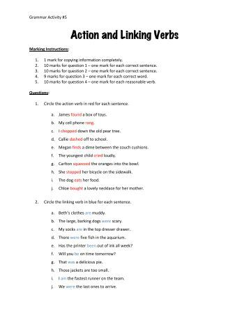 action verbs and linking verbs grammar worksheets from. Black Bedroom Furniture Sets. Home Design Ideas