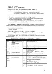 GHID DE STUDII CATEDRA DE MICROBIOLOGIE TITLUL ... - UMF