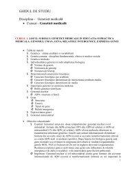 GHIDUL DE STUDIU Disciplina - Genetică medicală • Cursuri ... - UMF
