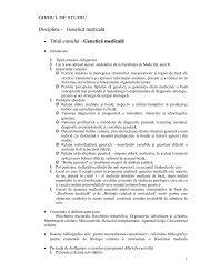 GHIDUL DE STUDIU Disciplina - Genetică medicală • Titlul ... - UMF