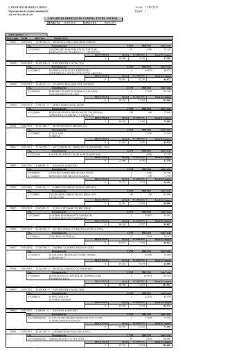 ordenes de compra marzo a abril 2011