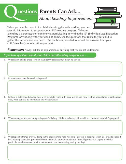 Questions Parents Can Ask About Literacy and Reading