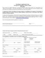 Enrollment Application Form Evergreen Community Charter School ...