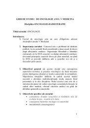 1 GHID DE STUDIU: DE ONCOLOGIE ANUL V MEDICINA ... - UMF